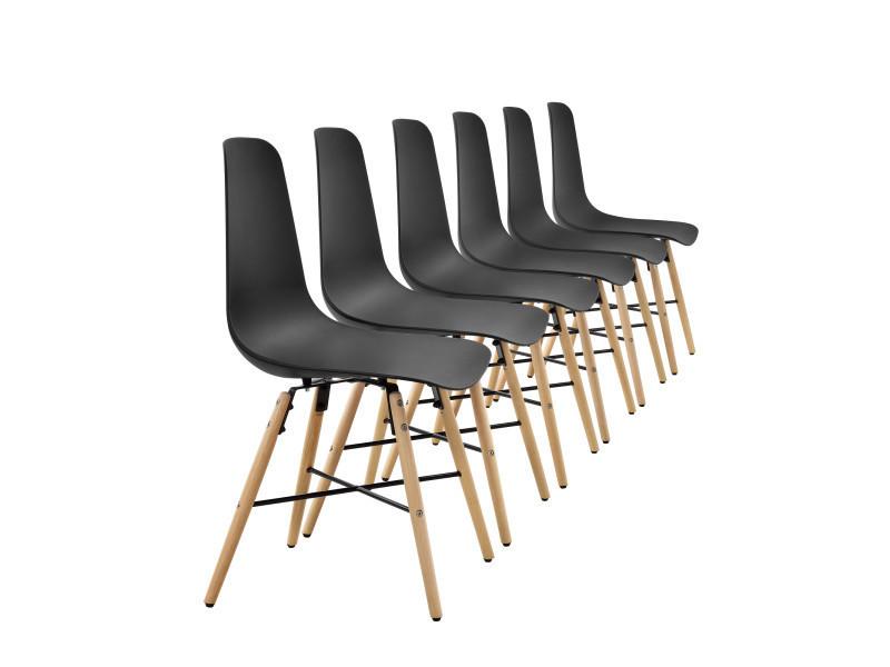[en.casa] Kit De 6 Chaise De Salle à Manger Noir Plastique Ensemble Chaise  Et Table De Salle à Manger Design Rétro