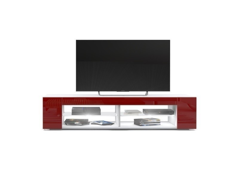 Meuble tv blanc mat façades en bordeaux laquées led blanc