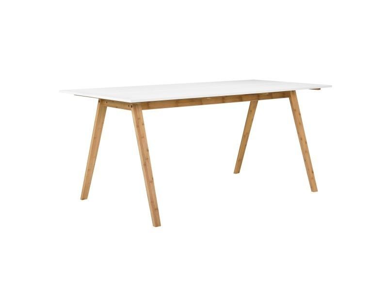 [en.casa] table de bambou blanc laqué 180x80cm salle à manger bois