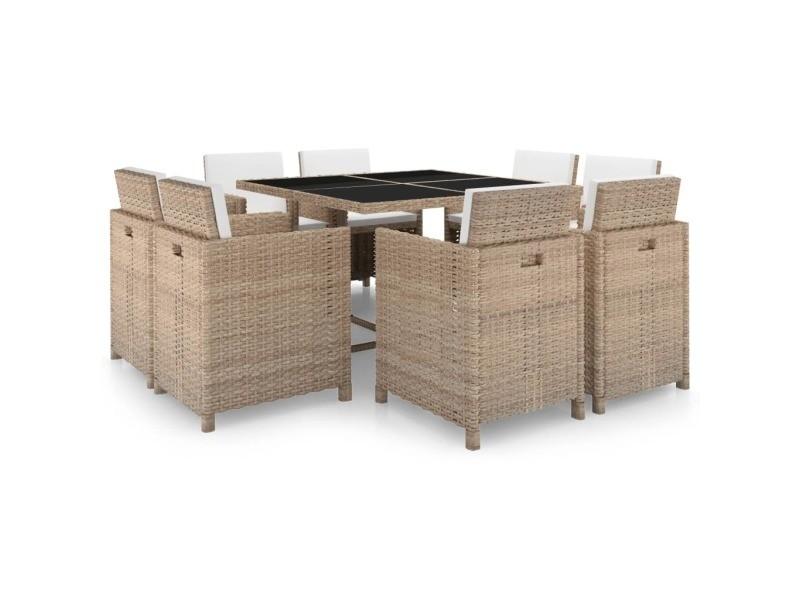 Vidaxl jeu de mobilier d\'extérieur 25 pcs gris/beige résine ...