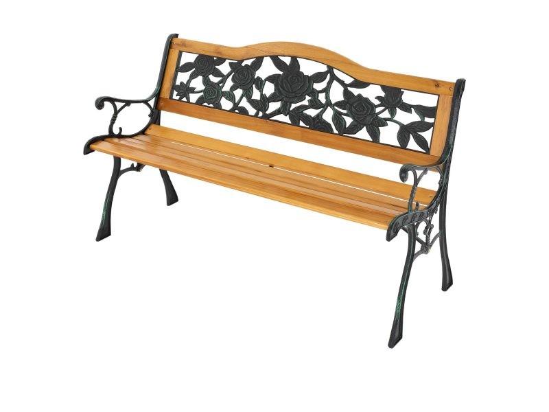Ml-design banc de jardin 3 places en bois massif avec dossier et accoudoirs, 126x77x50 cm, banquette résistant aux intempéries, motifs des roses métal/fonte, meuble d'extérieur parc terrasse et balcon 490000333