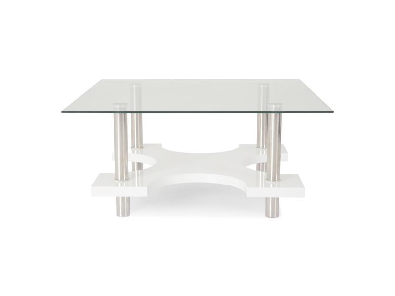 Table basse plateau en verre trempé - blanc