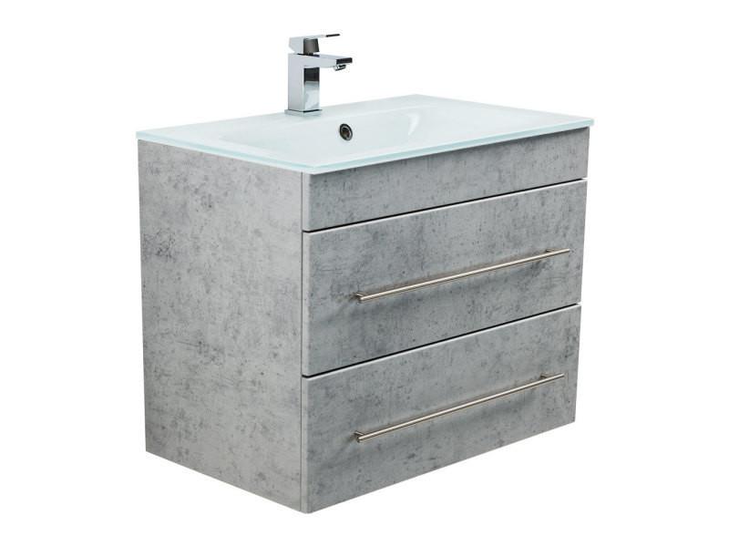 Meuble salle de bain vitro 750 avec vasque en verre en ...