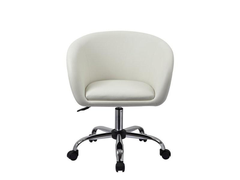 Fauteuil à roulette tabouret chaise de bureau blanc bur09021