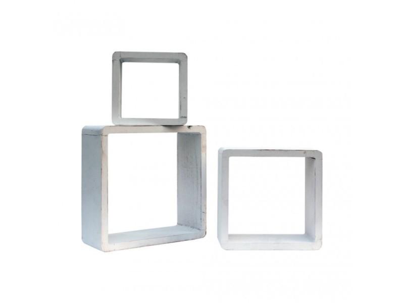 Rebecca mobili set 3 étagères murales cube support murale bois blanc 26x26x9