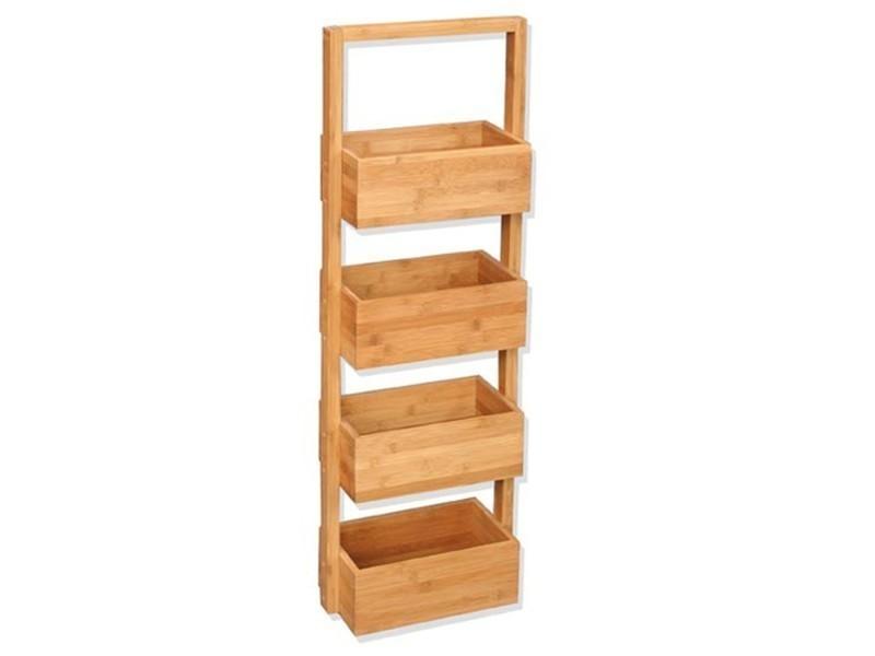 Etagère pour salle de bain - bambou - 4 niveaux - 25 x h. 88 cm ...