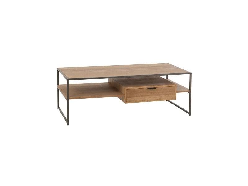 Table basse design en bois avec tiroir zati 10607