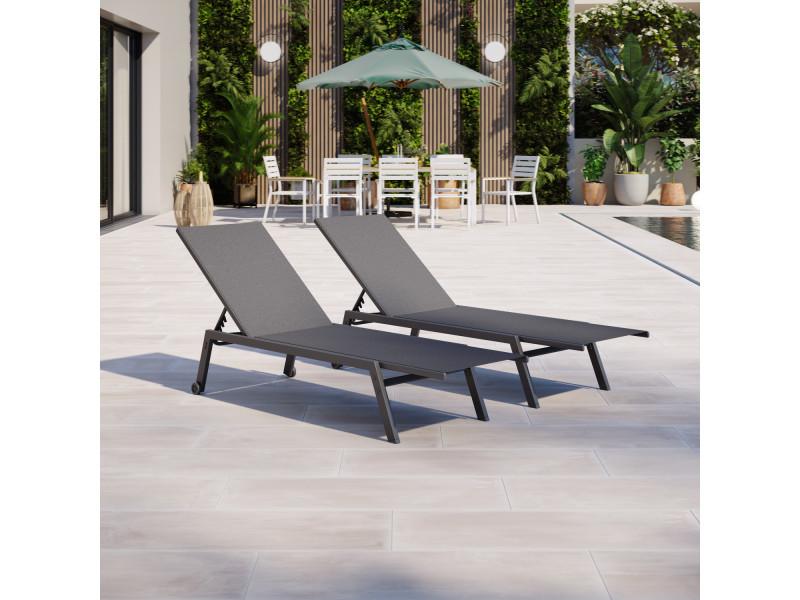 Duo de bains de soleil/transat de jardin inclinable 5 ...