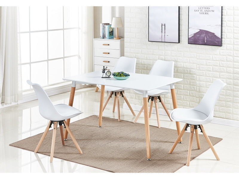 Table blanche et 4 chaises blanches scandinaves - sophie halo