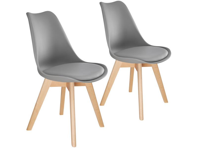 Tectake 2 chaises de salle à manger frédérique style scandinave pieds en bois massif design moderne - gris 403812