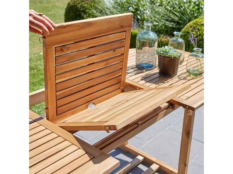 Salon de jardin en bois d\'acacia fsc et textilène 6 à 8 ...