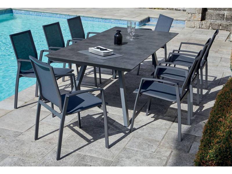 Table De Jardin 8 Fauteuils Empilables En Aluminium Gris Anthracite