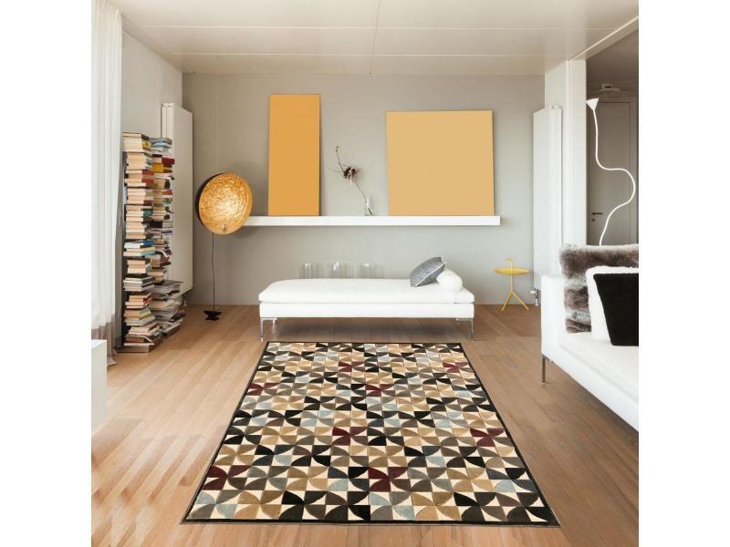Tapis salon vt cerclar relief 3d marron 160 x 230 cm tapis de salon ...