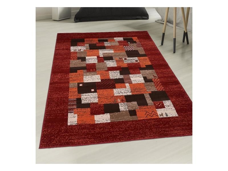 Tapis inspiration orientale af tetra rouge, orange, écru, marron 120 x ...