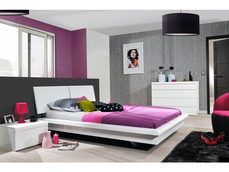 Chevet pour chambre design blanc laqué p-10814-co illiuma - Vente de ...