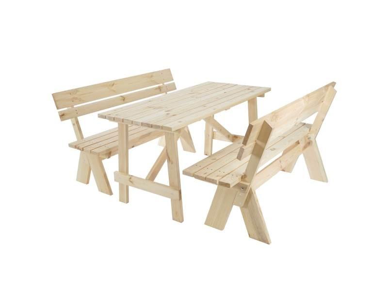 Garniture de jardin oslo, table + bancs en bois massif ...