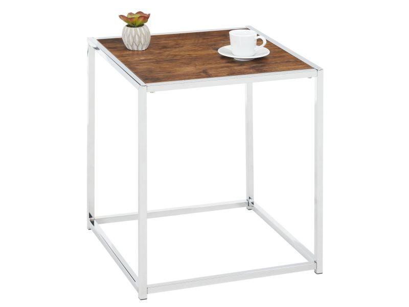 Table d'appoint jolanda table à café petite table basse bout de canapé en métal chromé, plateau carré en mdf décor chêne sauvage