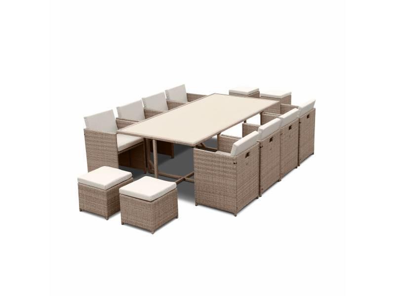 Salon de jardin 8-12 places – vabo – coloris beige, coussins beige, table encastrable