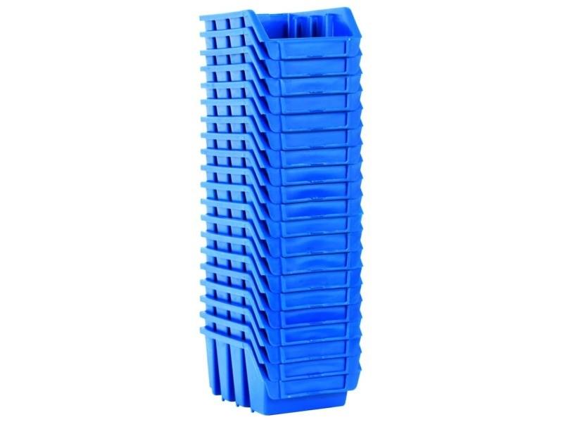 Vidaxl bacs empilables de stockage 20 pcs bleu plastique 146284