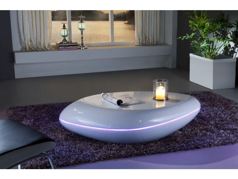 Table Basse Led Conforama.Table Basse Ultra Design Blanc Laque Avec Eclairage Led P