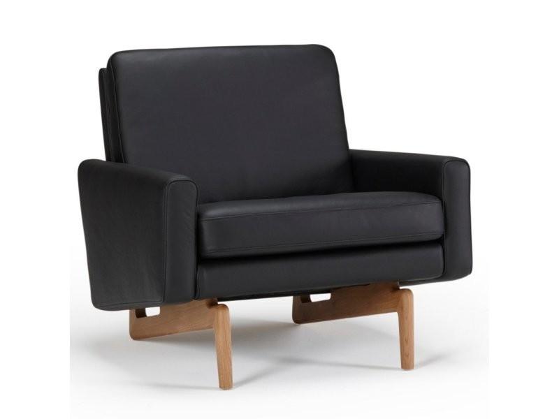 Fauteuil design scandinave egsmark piétement en chêne cuir noir 20100873524