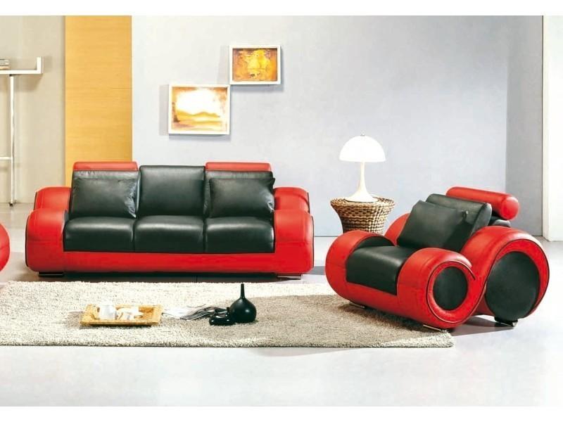 Ensemble cuir relax oslo 3+1 places noir et rouge-