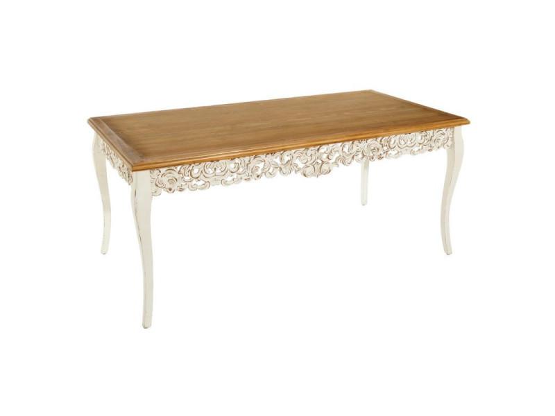 Table de repas bois blanc sculpté - eloise - l 180 x l 90 x h 78 - neuf