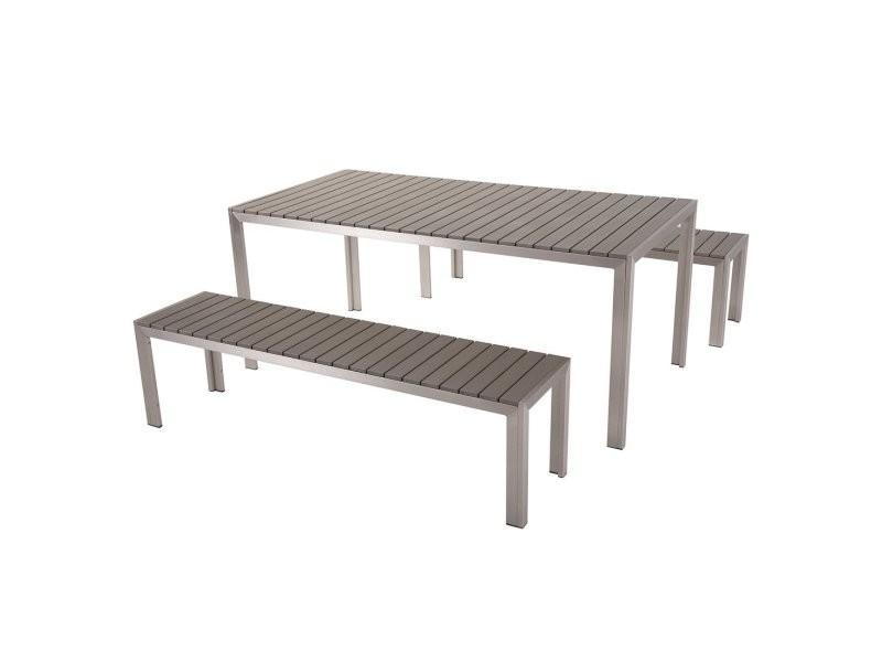 Ensemble de jardin en aluminium et bois composite gris nardo 10592