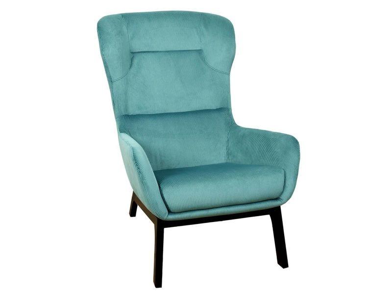 Alessia - fauteuil incliné velours côtelé bleu canard