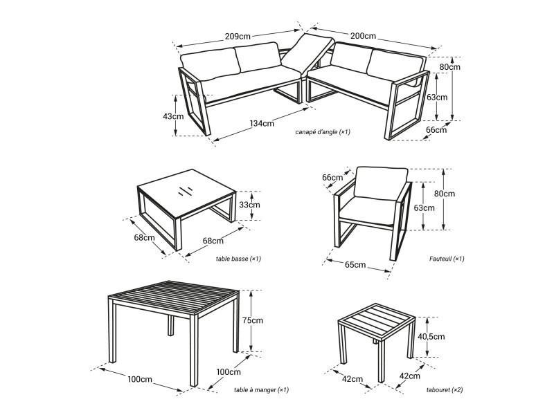 Salon de jardin modulable ibiza en tissu bleu 7 places - aluminum ...