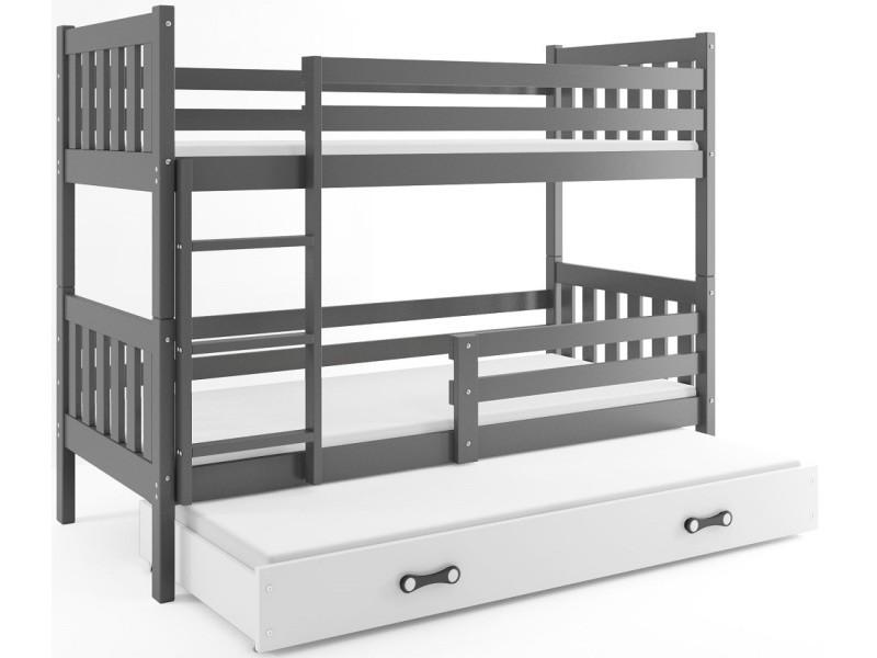 lit superposé carino 3 places 190x90 avec 3 matelas de