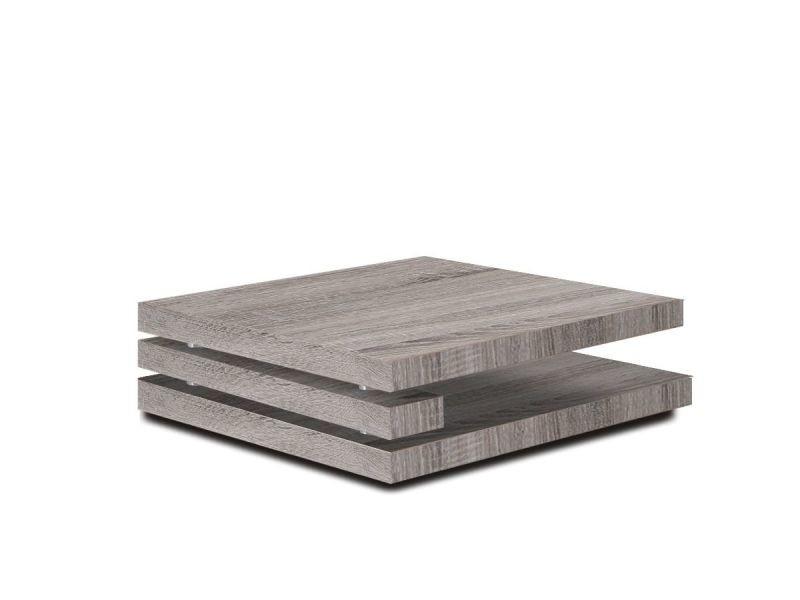 meilleure sélection b39d1 1b06d Table basse carrée 100x100 en mdf coloris sonoma foncé p ...