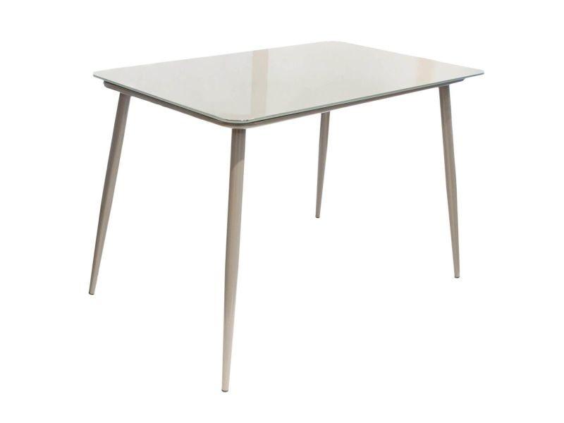 Tanita - table repas rectangulaire plateau verre gris