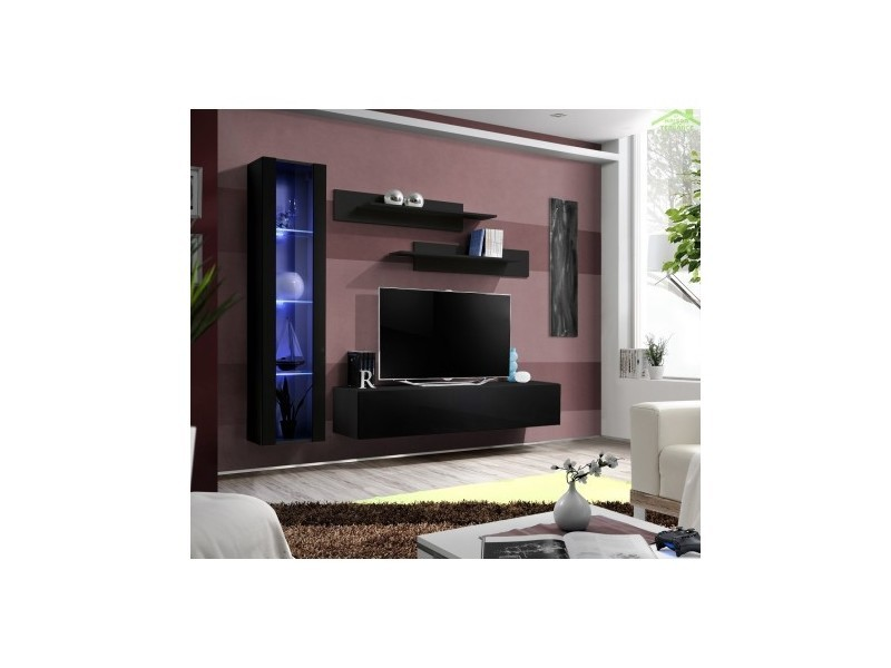 ensemble meuble tv suspendre fly g de haute brillance. Black Bedroom Furniture Sets. Home Design Ideas