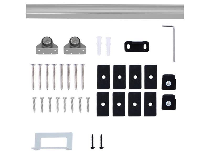 kit de roulette porte coulissante Kit complet porte coulissante 4 x 93 cm (p x l): rail, roulettes, visserie