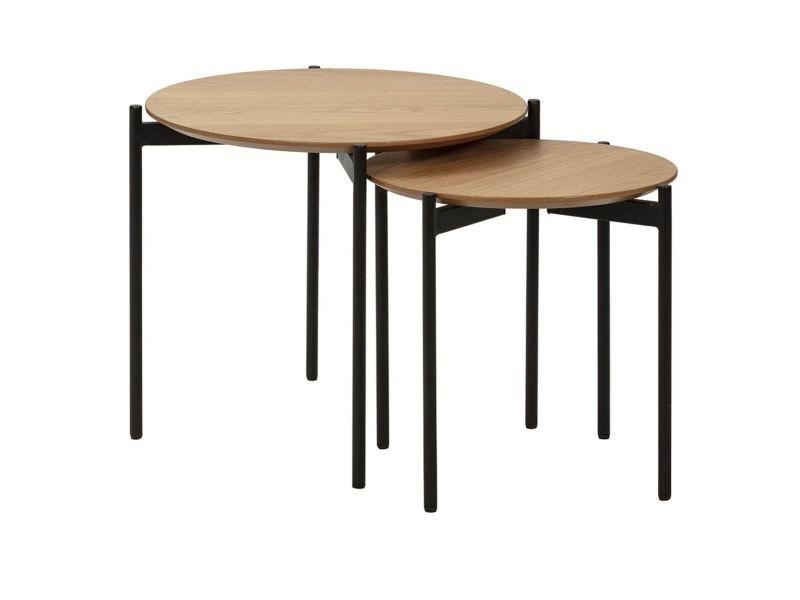 Choucha - tables gigognes rondes plateaux plaqués chêne