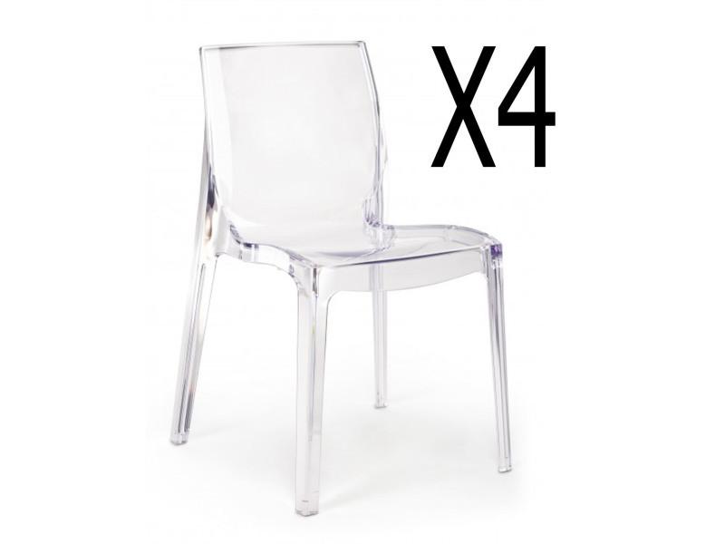 Lot de 4 chaises transparentes - l 52 x p 52 x h 81 cm