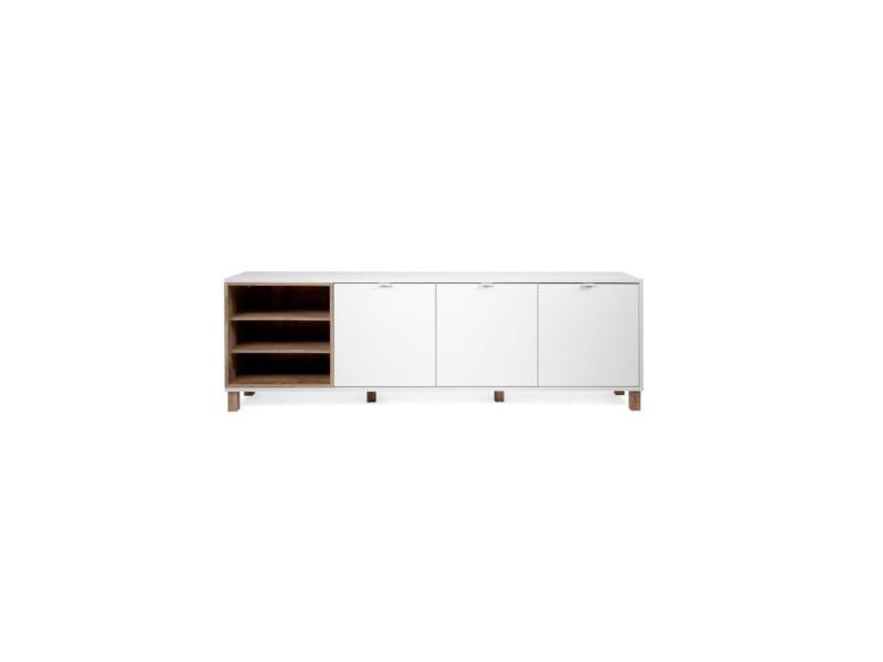 Enfilade 3 portes - blanc - l 200 x p 35 x h 64,5 cm - menorca MENORCA003029