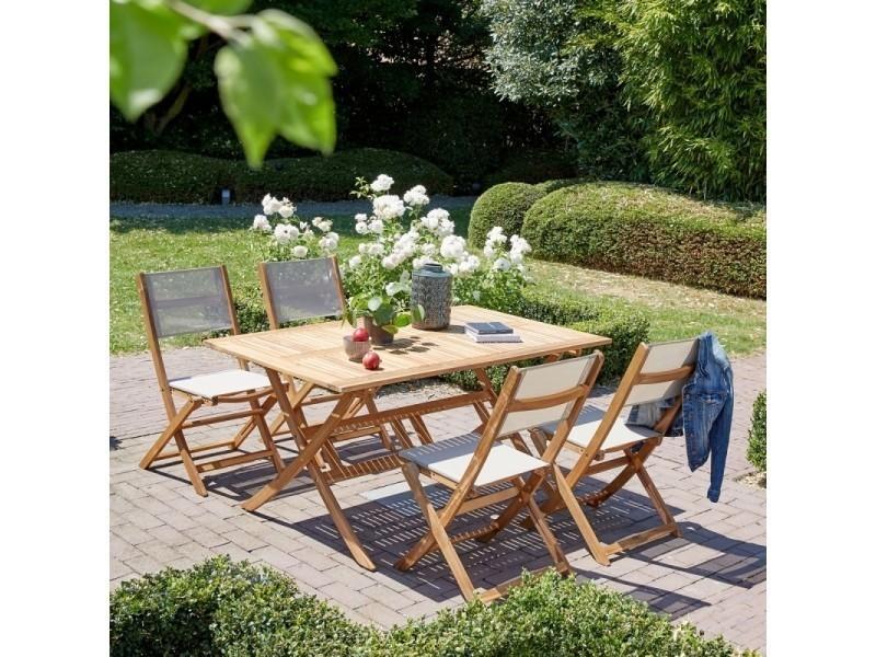 Salon de jardin en bois d\'acacia fsc 4 à 6 places - Vente de ...