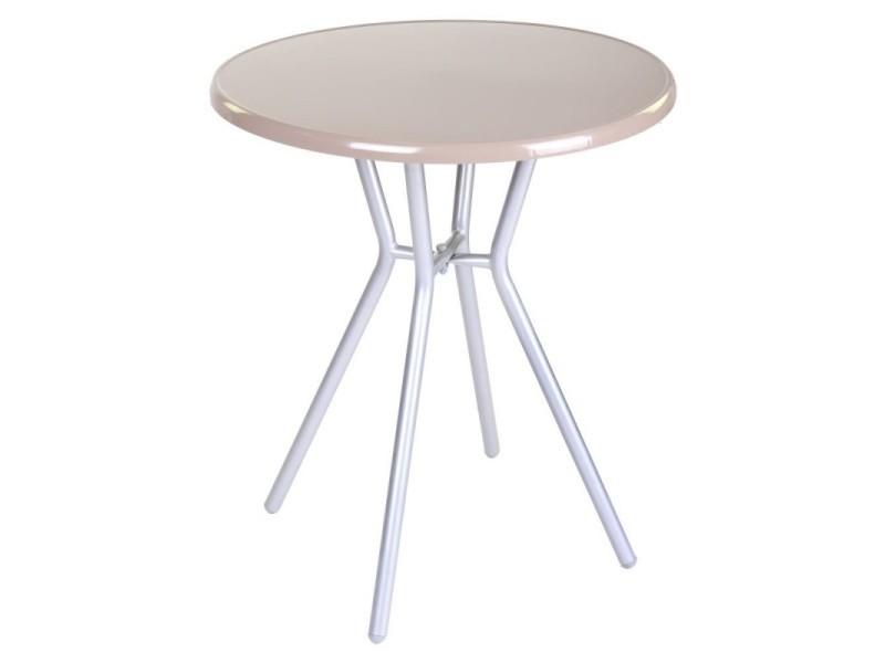 Table de jardin ronde 60cm en acier beige zamora - l 60 x l ...
