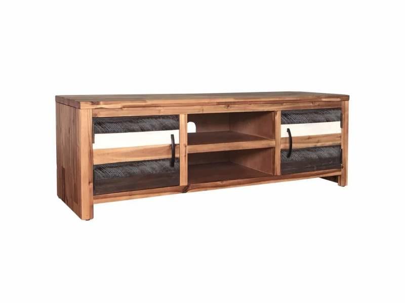 Meuble télé buffet tv télévision design pratique bois massif d'acacia 120 cm helloshop26 2502167/2