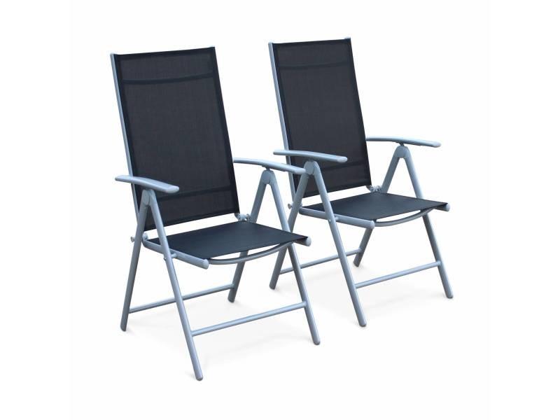 Lot de 2 fauteuils multi-positions naevia en aluminium gris et ...