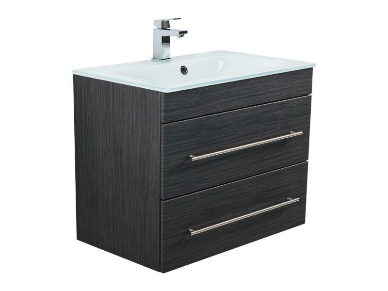 Meuble salle de bain vitro 750 avec vasque en verre en charbon ...
