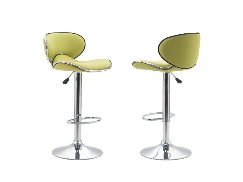 Lot De 2 Tabourets De Bar Lounge Chaise Haute Pour Cuisine/comptoir,  Réglable En Hauteur Et Pivotante, Revêtement En Tissu Vert