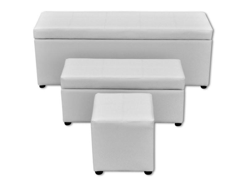 Lot de 3 banquettes gigogne banc coffre de rangement blanc 115 cm helloshop26 3002021