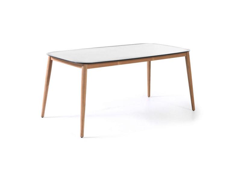 Table en teck et duranite® blanc 213 x 100 cm kimito