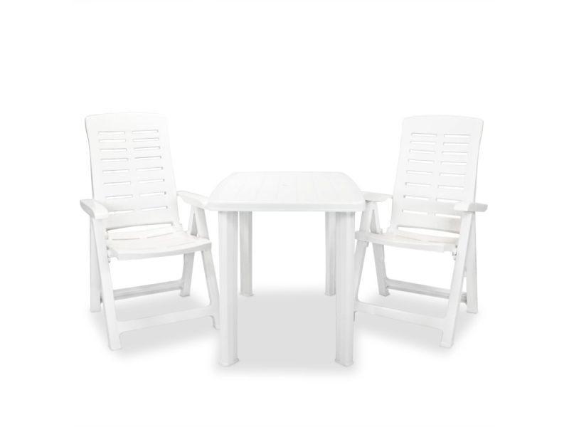 Admirable meubles de jardin famille dili mobilier de bistro d'extérieur 3 pcs 101 x 68 x 72 cm blanc