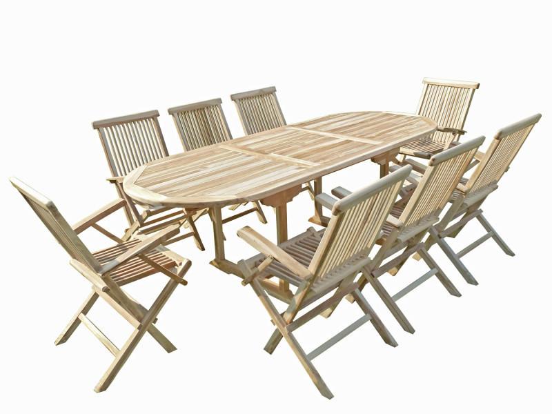 Ensemble salon de jardin en teck mahui 8 fauteuils pliants