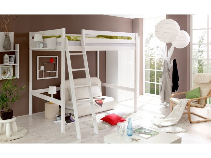 Lit Mezzanine 140x200 Cm Extra Haut Stable Et Robuste Lit Gain De Place  Bois Massif Vernis Blanc Sommier Non Inclus