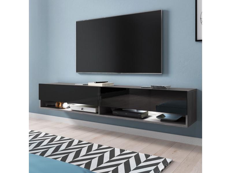 Meuble Tv Wander 180 Cm Bodega Noir Brillant Led Vente De Meuble Tv Conforama